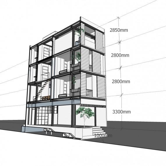 Dự án nhà thép 4 tầng Thái Hà