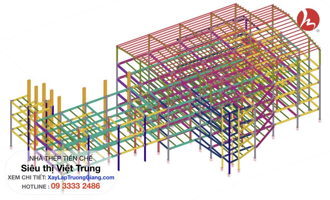 thiết kế nhà khung thép - Siêu thị Việt Trung