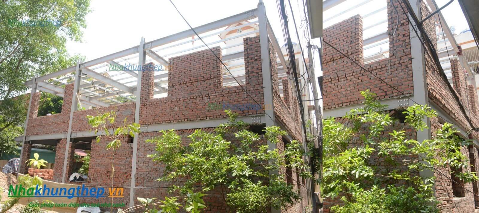 xây tường nhà khung thép